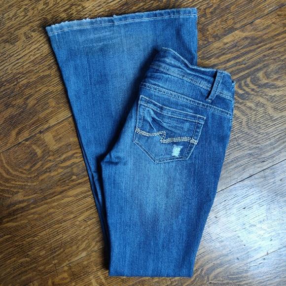 Blue Asphalt Distressed Super Flare Jeans Size 3